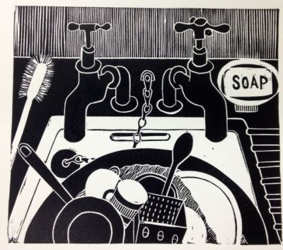 'Dirty Dishes' by jan brewerton  Edition of 25  Lino print on Somerset Satin Paper  19.5cm x 17cm