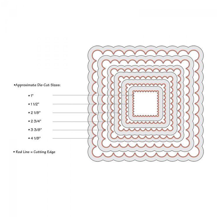 Sizzix Framelits Die Set 6PK - Squares, Scallop