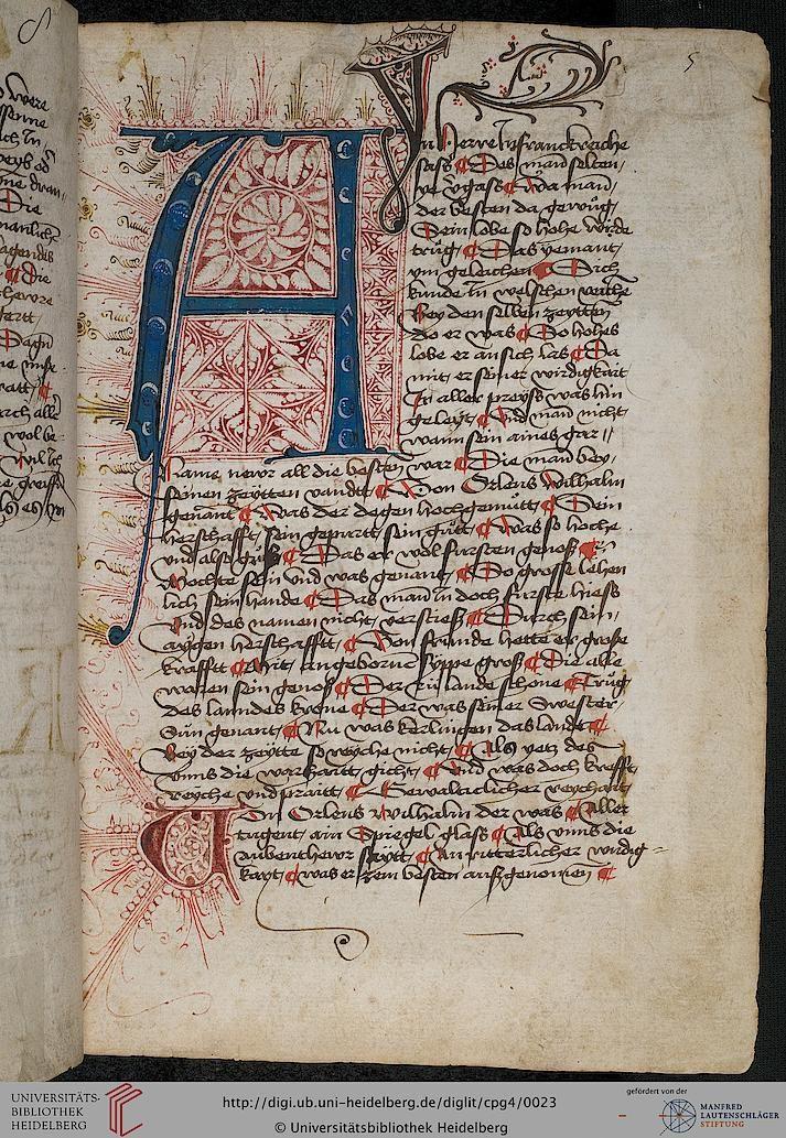 Cod. Pal. germ. 4 Rudolf von Ems: Willehalm von Orlens... Germany (Swabia) 1455-1479.