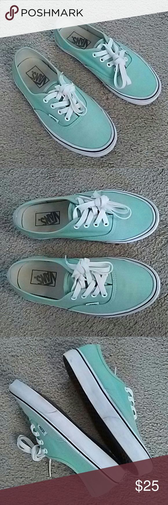 Vans. Mint Green Lace Up Sneakers Unisex Mint green lace up sneakers Men's 5.5 and Women's 7. In gently used, Excellent Condition. Vans Shoes Sneakers