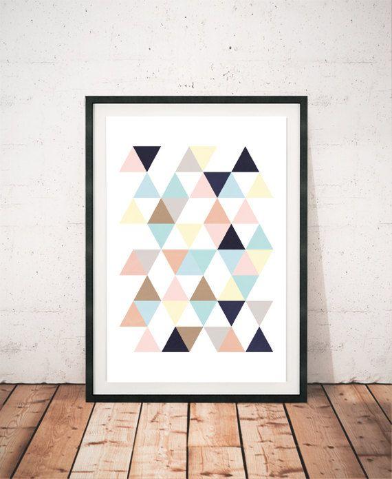 Poster driehoeken, moderne Poster, moderne kunst, abstracte illustratie, abstracte kunst, kleur pastel, Poster taart, minimalistische kunst