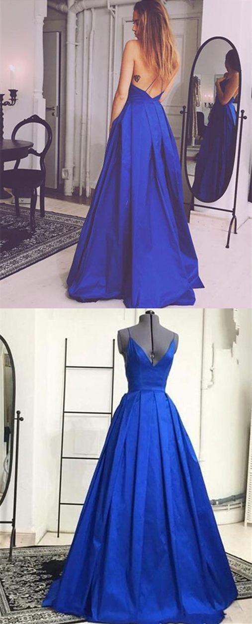 modest royal blue v neck prom dresses with pockets, simple criss cross straps party dresses with pleats, elegant backless evening gowns with pockets