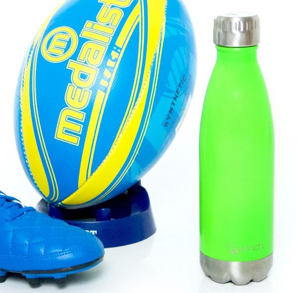 Quench Bottle Neon Green. Unbreakable double wall stainless steel insulated flask/bottle. Keeps any Beverage hot for 18 hours or cold for 24 hours. Visit GoodiesHub for the full range of exciting vibrant colours.GoodiesHub.com