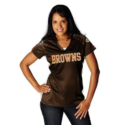 Cleveland Browns Ladies Draft Me V Shimmer Top - Brown