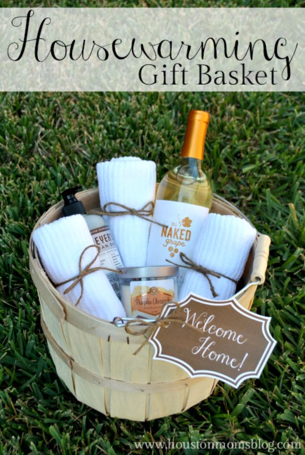 DIY Housewarming Gifts - DIY Housewarming Gift Basket - Best Do It Yourself Gift Ideas for Friends With A New House, Home or Apartment - Creative, Cheap and Quick Crafts and DIY Ideas for Housewarming Presents - Mason Jar Gifts, Baskets, Gifts for Women and Men http://diyjoy.com/diy-housewarming-gifts