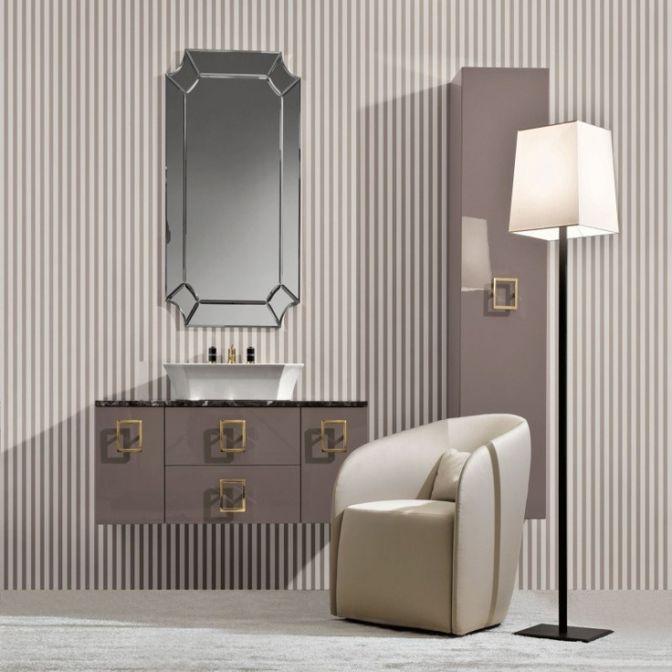 Bathroom Nella Vetrina Luxury Italian Vanity In Ivory Lacquered Wood Floating Cabinet On Stripe Wall Papper Daphne And Leather Sofa Beside