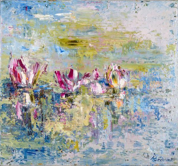 """Åsa Eriksson - """"Näckrosor"""" finns att köpa hos oss på Galleri Melefors / is available for purchase at Galleri Melefors #åsaeriksson #åsa #eriksson #art #konst #tillsalu #forsale #nature #flowers #purple #blue #natur #blommor #näckrosor #inredning #oljemålning #målning #olja #tavla #dekoration #vår #lila #blå #fantasi #monet #gallerimelefors #melefors"""