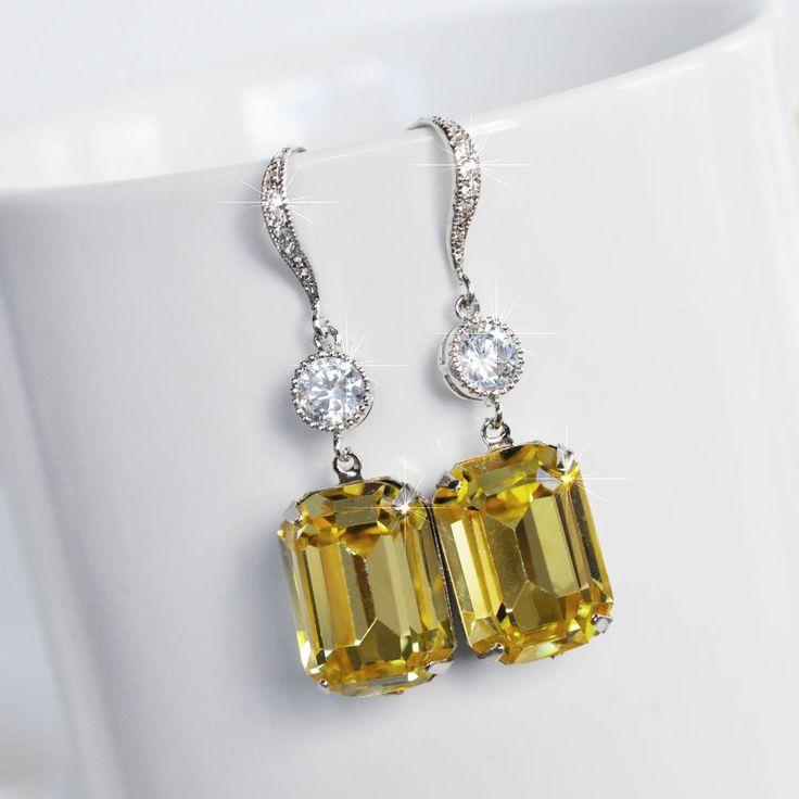 Handmade Swarovski Jonquil Lt Yellow Emerald Cut Earrings (Sparkle-2522-U)