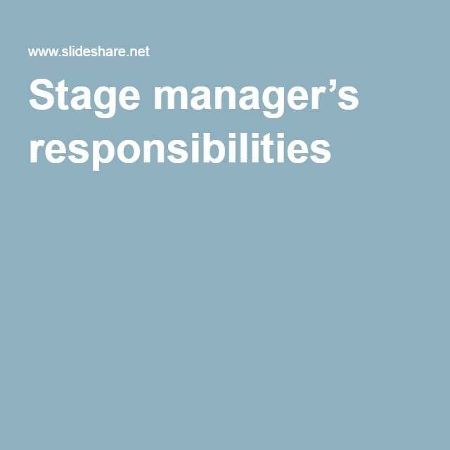 405 best Theatre Stage Management images on Pinterest Stage - sample stage management resume