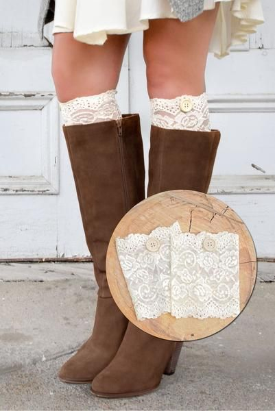 OurChampagne Lace Boot Cuffs(with accent buttons!)make an exceptional gift at $15, and we package them in a beautiful, reusable organza bag which really comp