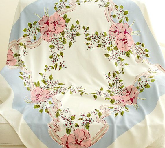 Vintage Tablecloth  Pansies by AVintageHome on Etsy