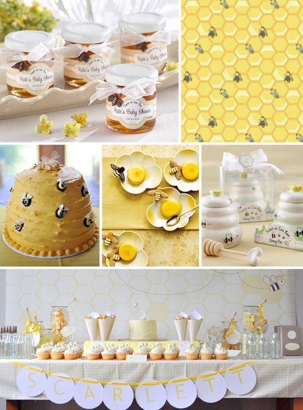 Bee-themed Baby Shower Inspiration by Kate AspenFavors/ Love the honey as a favor idea. And the name banner if you know the sex of the baby! Adorable!