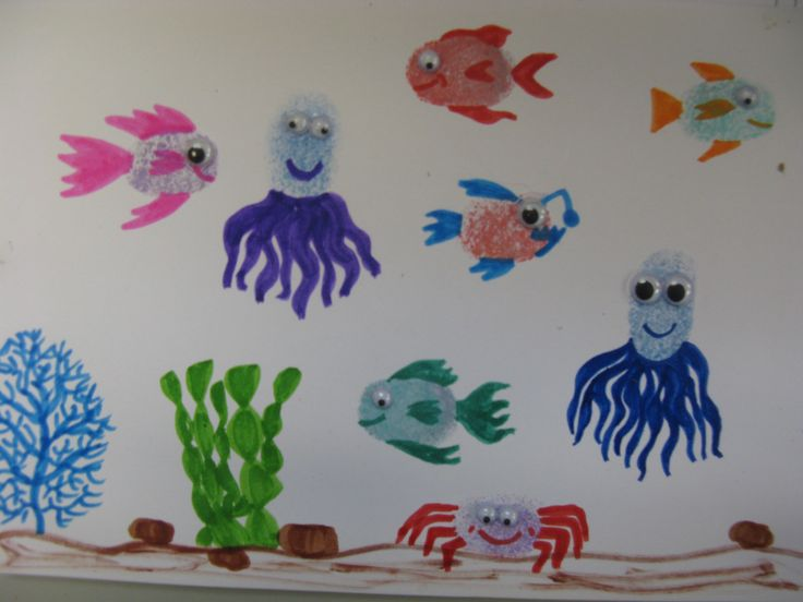 Thumbprint animals.  Not too messy if it is just thumbprints.  Everything is cuter with googly eyes!