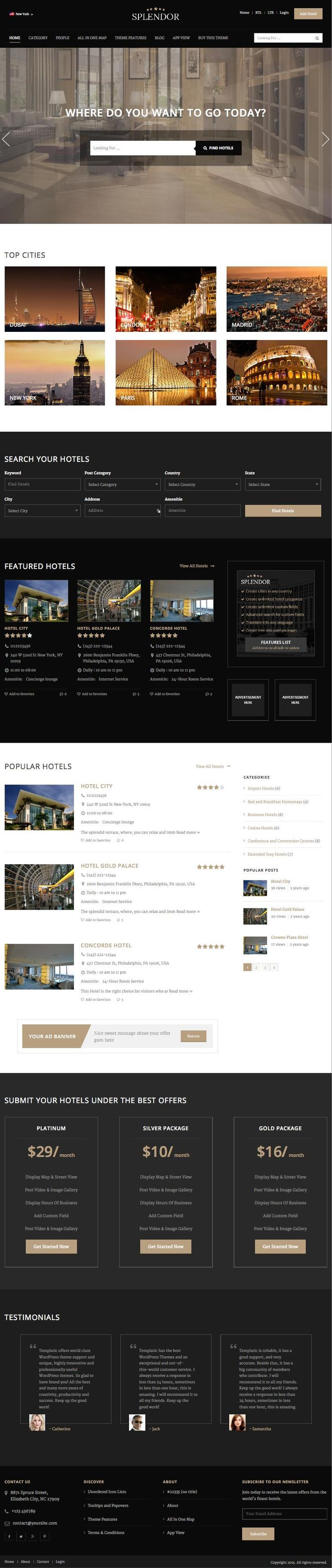 Splendor wordpress hotel directory listings theme