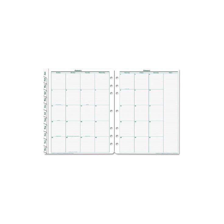 FranklinCovey Original Dated Monthly Planner Refill January-December 8 1/2 x 11 2018, White
