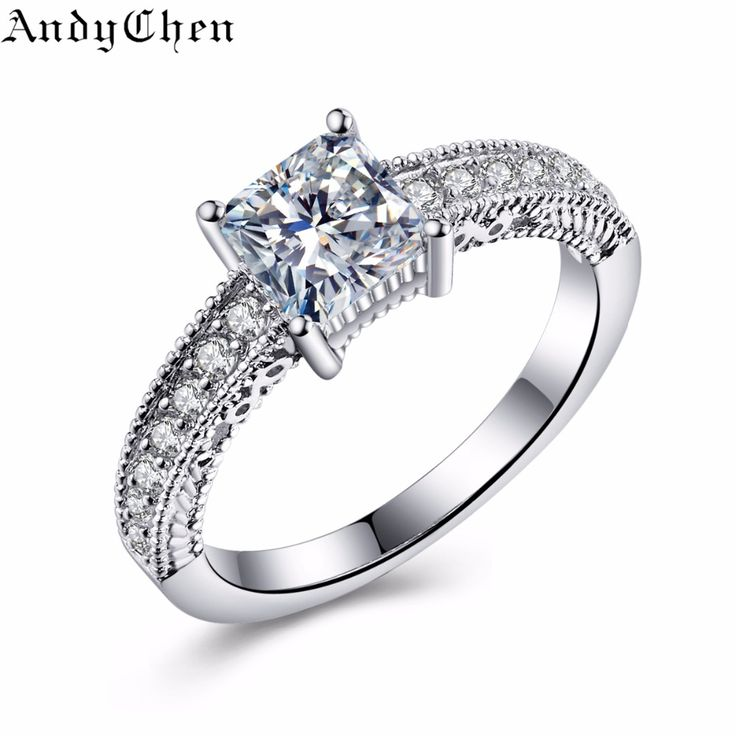 AndyChen Silver Plated Punk Square Bague Crystal Jewelry Wedding Rings for Women Bijoux Engagement Accessories ASR327