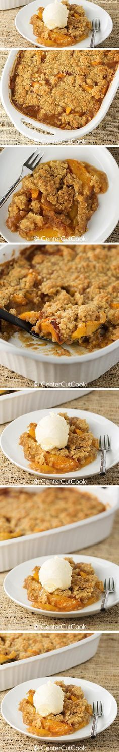The perfect recipe for an abundance of fall PEACHES! An easy Peach CRISP topped with an oatmeal, brown sugar, and butter topping. YUM!