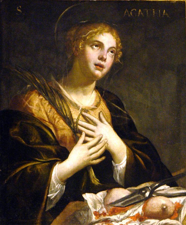 Vita, storia e biografia di Sant'Agata. E' celebrata dalla chiesa il 5 febbraio. Elenco delle città di cui è patrona e le professioni di cui è protettrice.