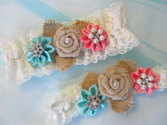 Aqua Blue & Coral Garter Set BURLAP Wedding by GibsonGirlGarters