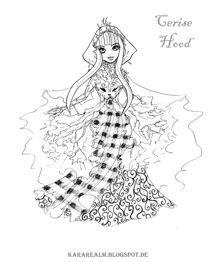 kara realm ever after high coloring pages cerise hood