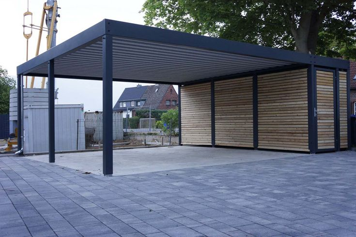 design metall carport aus holz stahl mit abstellraum. Black Bedroom Furniture Sets. Home Design Ideas