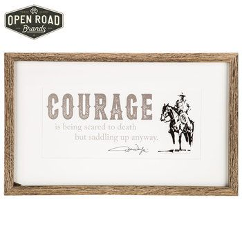 John Wayne Courage Quote Gallery Wood Framed Wall Decor⎢Open Road Brands