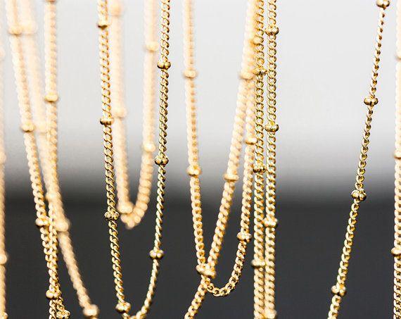 1166_Gold plated chain, Flattened curb ball chain, Chains, Curb Ball Chain…