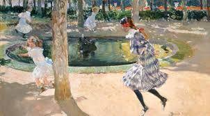 Saltando a la comba, La Granja , Joaquín Sorolla. Museo Sorolla. Pintado en 1907 durante la estancia de Sorolla en La Granja de San Ildefonso, refleja el interés del pintor por el tema del jardín y desprende instantaneidad como si se tratara de una fotografía.