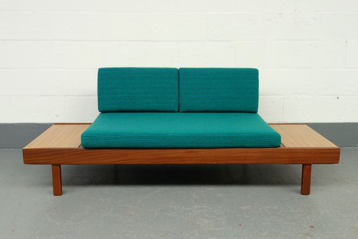 Danish Style Mid Century Teak and Teal Harris Tweed Sofa Bed and Studio Couch 1960s