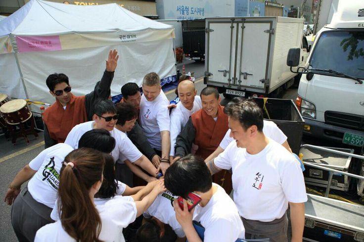 Pre-demostration gathering - Sunmudo team spirit