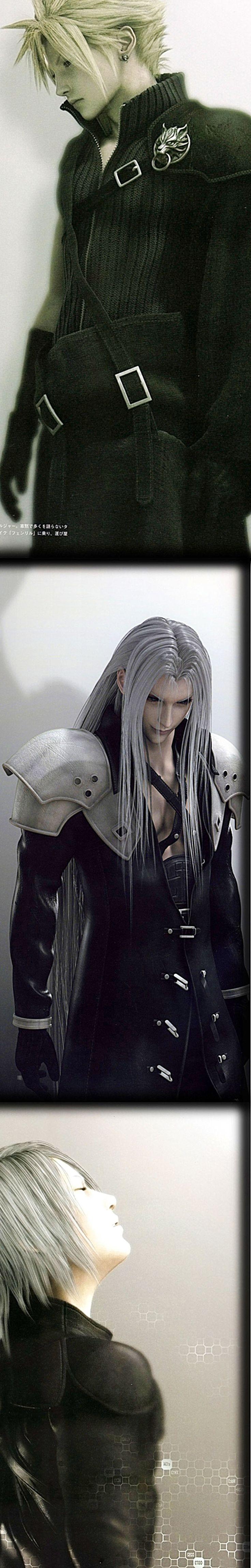 In order. Cloud, Sephiroth, and Kadaj