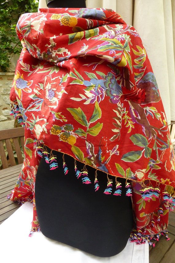 Red Cotton Multicoloured Floral Bohemian Extra by Pllowcoversetc, $79.00