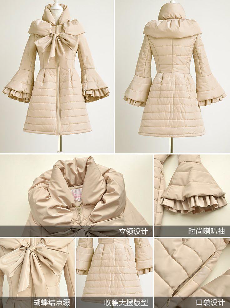 Dabuwawa 2015 новых зимнее пальто женщин с бантом тонкий ретро красивые длинные бежевый куртки abrigos mujer парка купить на AliExpress