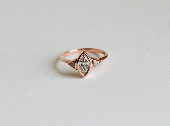 Rose Gold Diamond Engagement Ring Three Stone by capucinne on Etsy