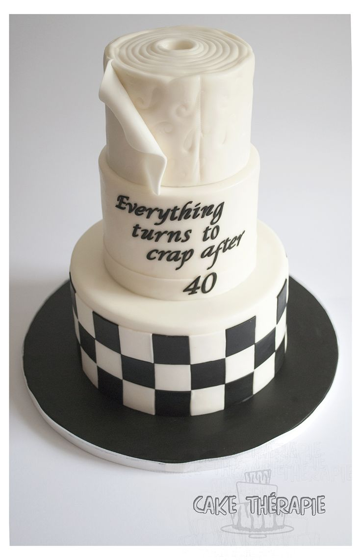 40th birthday custom cake. Top tier resembling a toilet paper roll. © Mary Das, Cake Thérapie