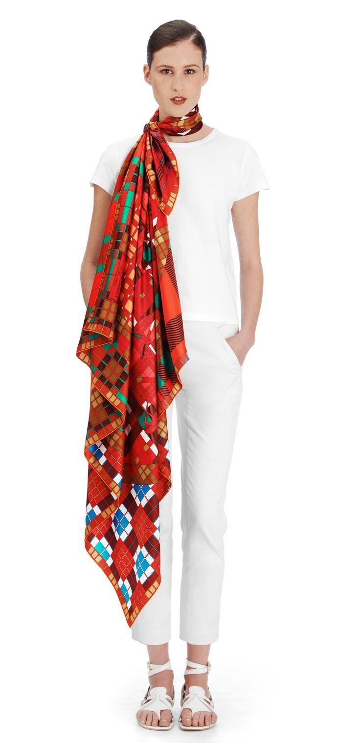 Ex-Libris a Carreaux Hermes silk twill giant plume scarf ...