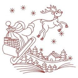 Redwork Reindeer embroidery design