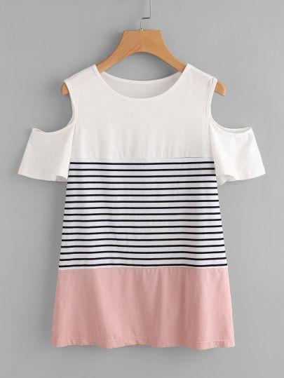 Camiseta con hombros abiertos y costuras -Spanish SheIn(Sheinside) Sitio Móvil
