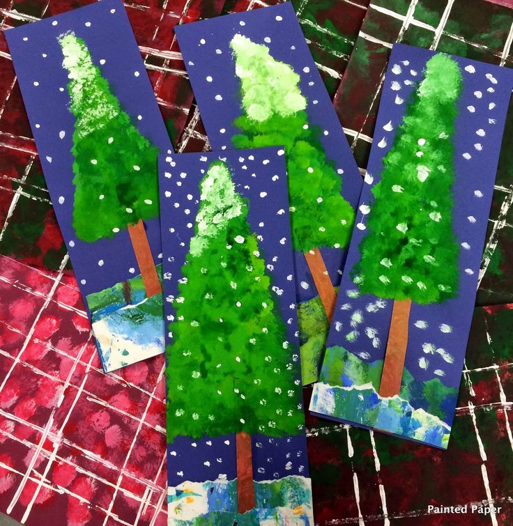 Alpine Trees. Tempera and torn paper. Step-by-step directions included.