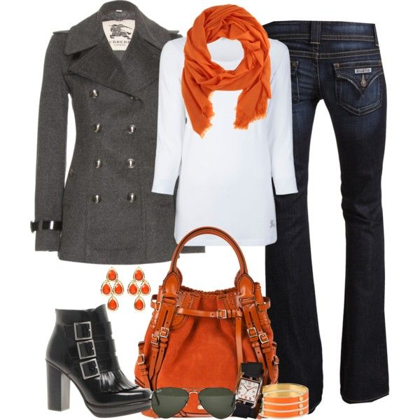 Perfect for Fall and Winter. Love the White and Burnt Orange.: Jacket, Orange, Fashion, Style, Clothes, Color, Fall Outfits, Fall Winter, Coat