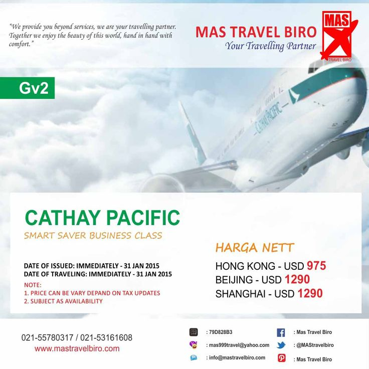 Promo Cathay Pasific Business class tinggal 2 hari lagi travelers, promo sampai 31 Januari 2015. Minimal keberangkatan 2 orang.  Info: 021-55780317 / 021-53161608