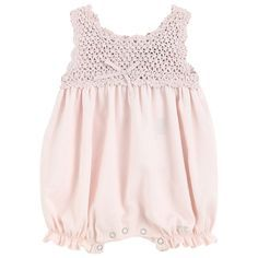 Lili Gaufrette Crochet knit and cotton voile one-piece shorts - 8501 | Melijoe.com Wow! $94.00!
