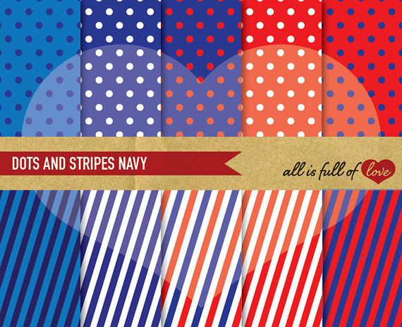 NAVY Blue Red Digital Scrapbook Patterns STRIPES by AllFullOfLove