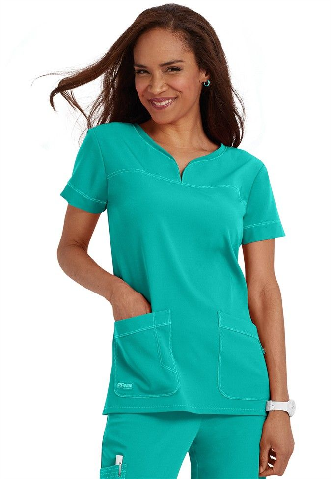 Greys Anatomy Signature 2 Pocket Top in Bali Green | Scrubs and Beyond