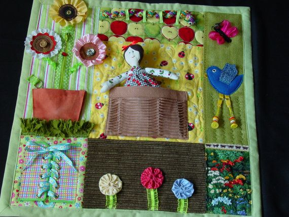 Fidgety Garden Girl - Fidget Quilt- Tactile - Bright & Colorful- Fun for Alzhiemer Patients