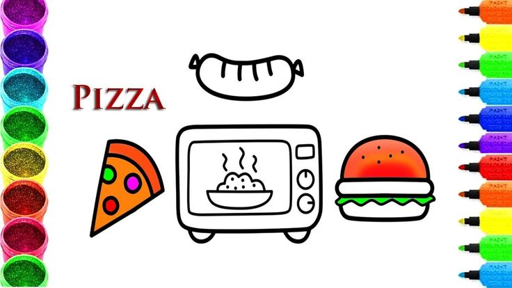 How to Draw Microwave, Pizza, Hamburger, Drawing and Coloring, Learn Col...