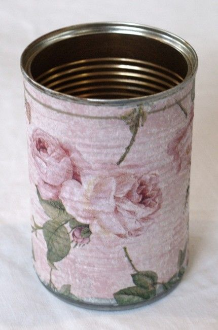 ❥ mod podge paper and fabric onto cans!