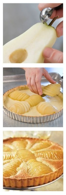 Perfect. Fall. Dessert. Poached Pear and Almond Tart http://www.epicurious.com/recipes/food/views/Pear-and-Almond-Tart-231612 Julia Child's brush on Apricot Sauce/Top of Tart http://video.pbs.org/video/2261544130