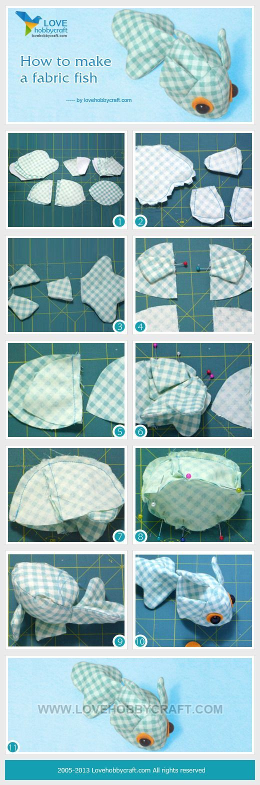 How to make a fabric fish...you would have to draw the templates: