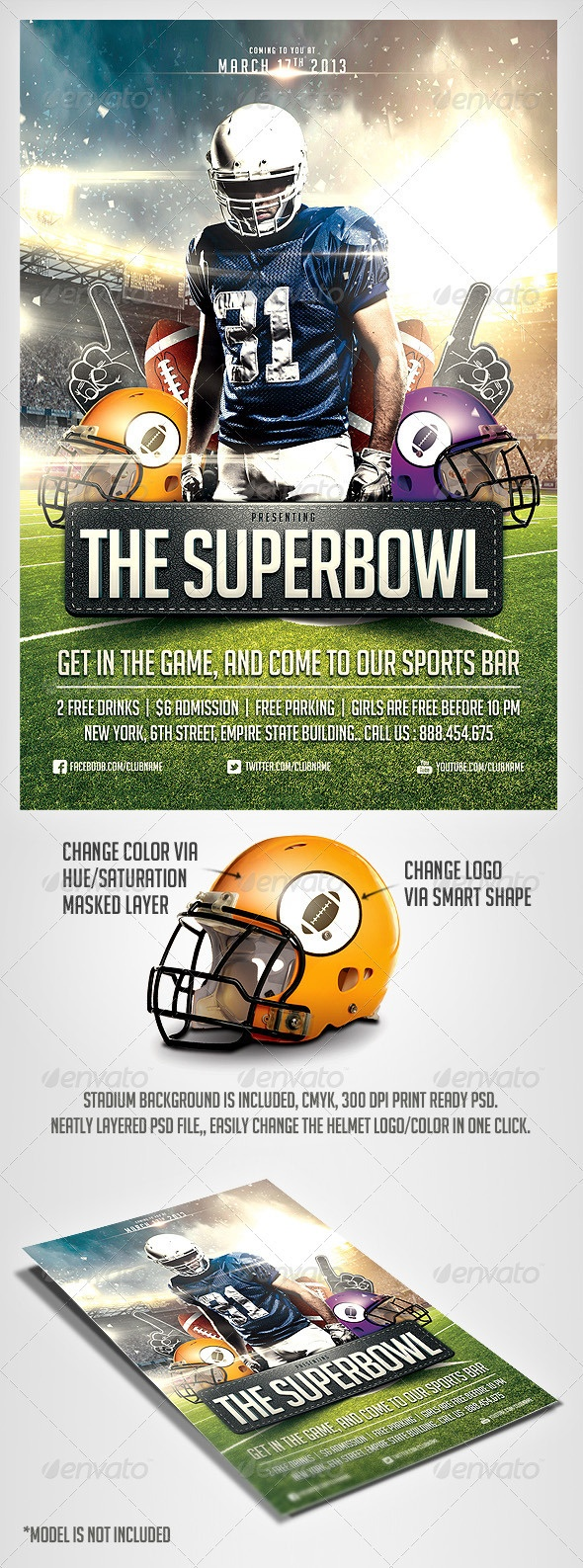 SuperBowl Football Flyer Template - GraphicRiver Item for Sale